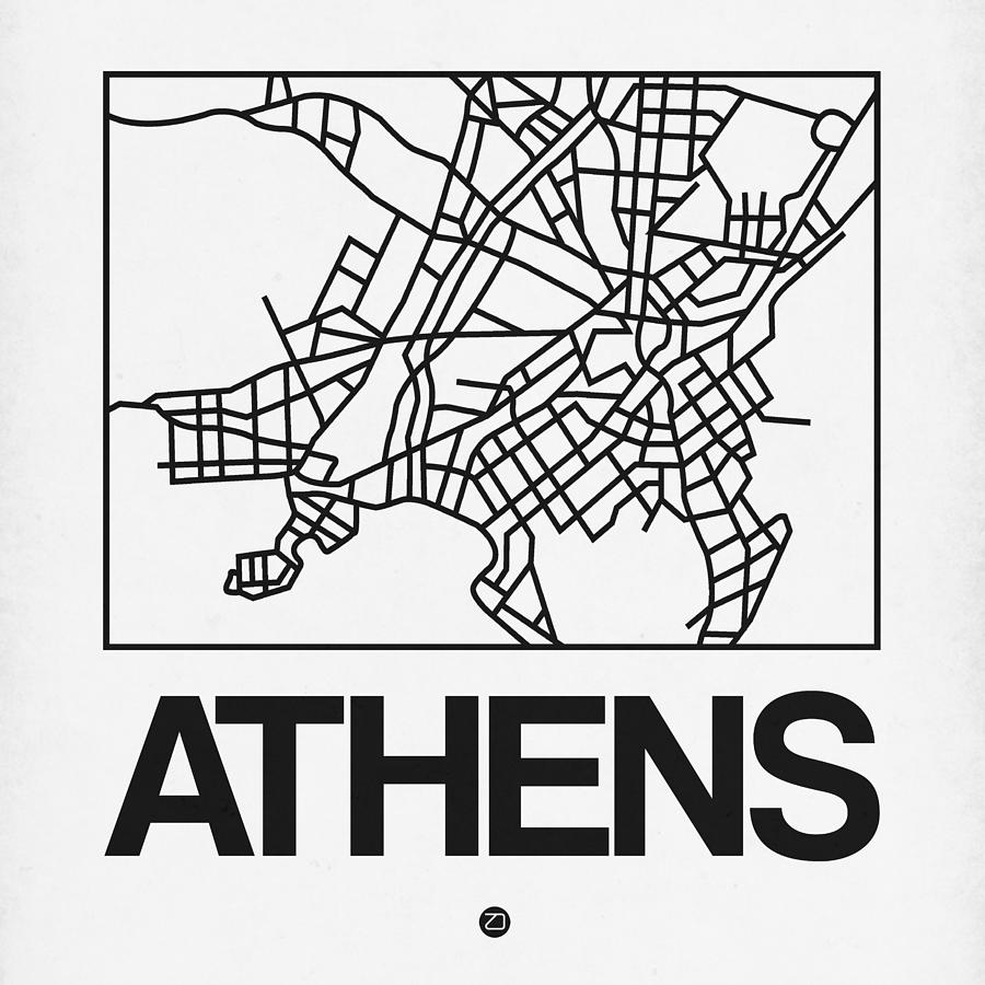 Athens Digital Art - White Map Of Athens by Naxart Studio