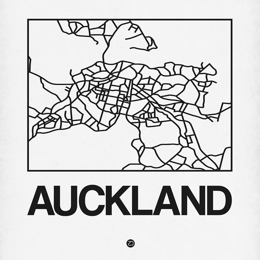 Auckland Digital Art - White Map Of Auckland by Naxart Studio