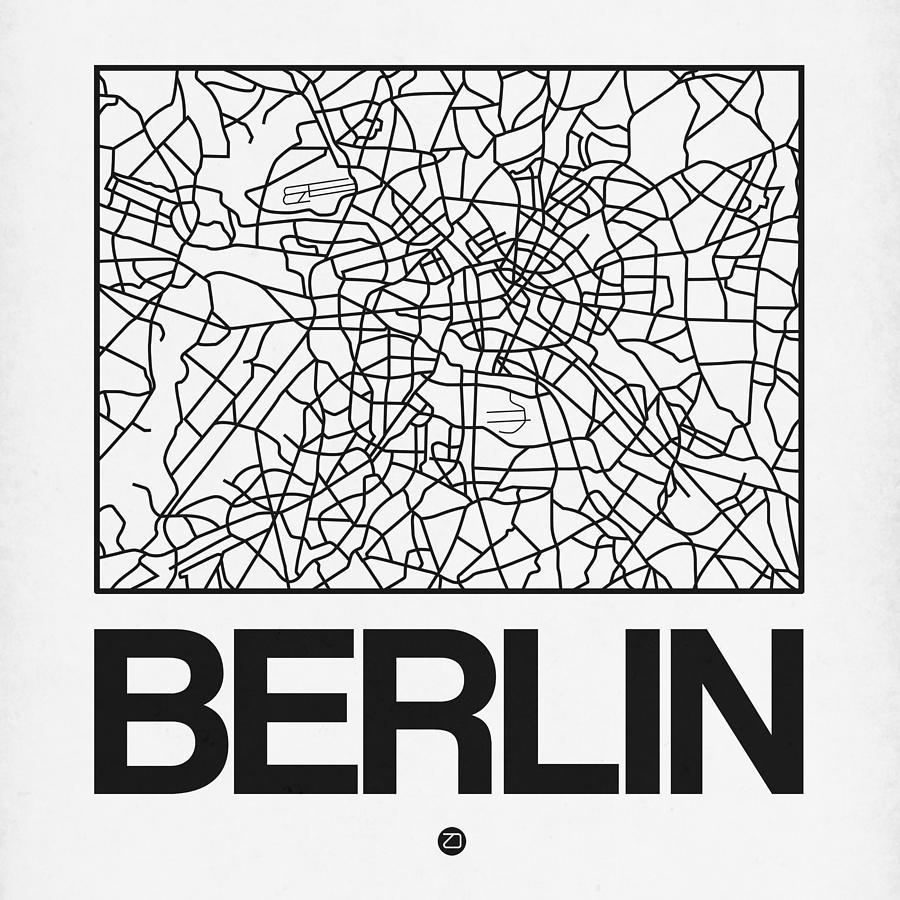 Berlin Map Digital Art - White Map Of Berlin by Naxart Studio