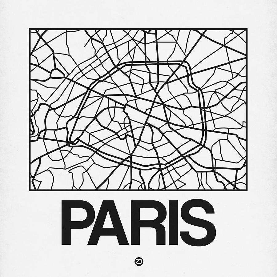 Paris Digital Art - White Map Of Paris by Naxart Studio