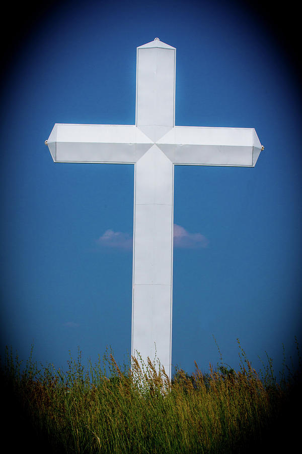 White Metal Cross Photograph