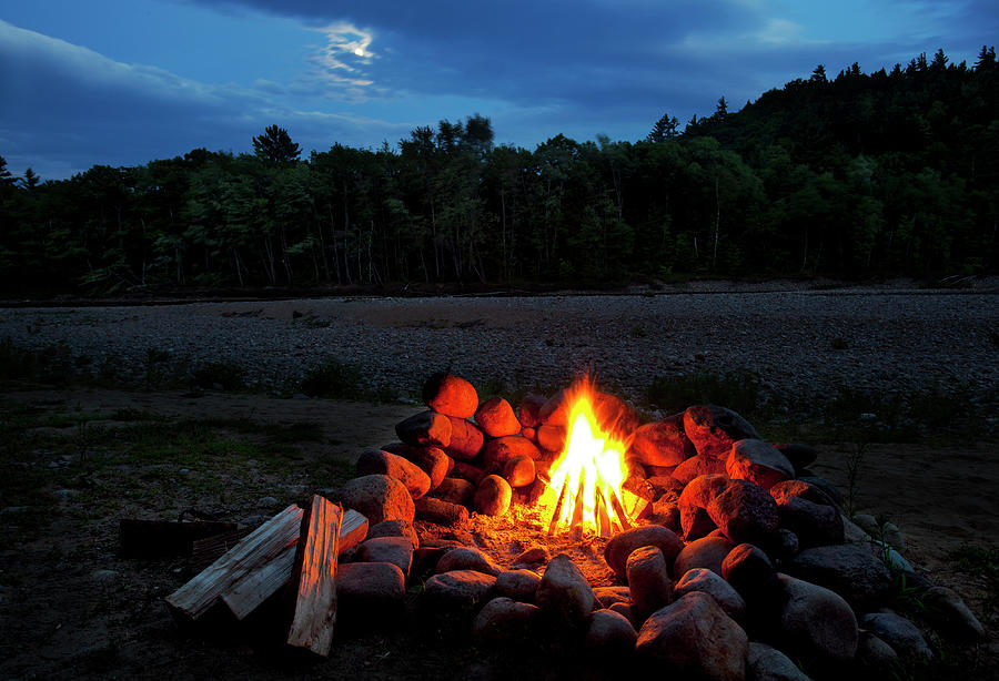 White Mountains Moonlit Campfire Photograph by Wholden