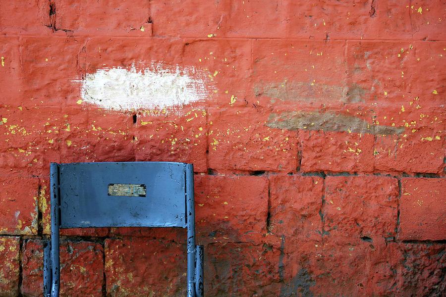 White Patch Blue Chair by Prakash Ghai