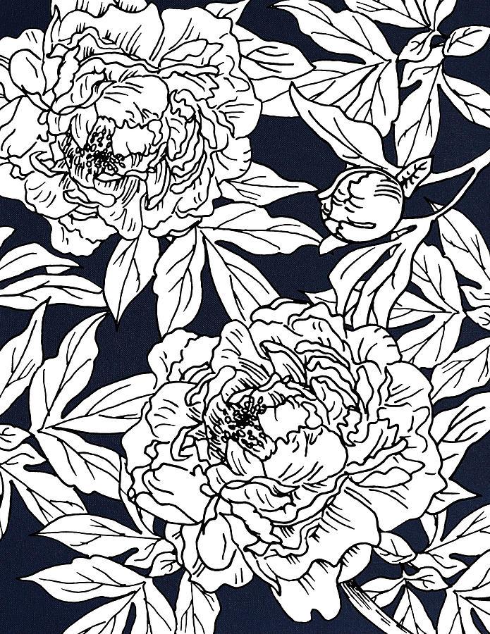 White Peony on Dark Blue Canvas by Masha Batkova