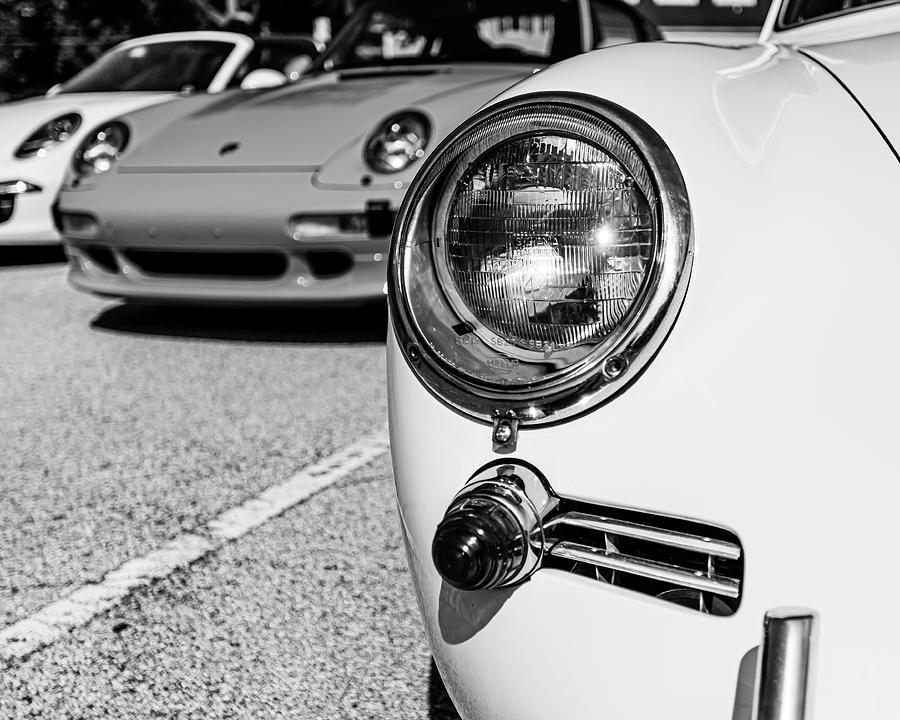 White Porsche Headlight by Lauri Novak