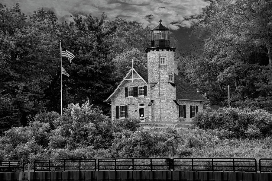 White River Lighthouse in Black and White in Summer by Whitehall by Randall Nyhof