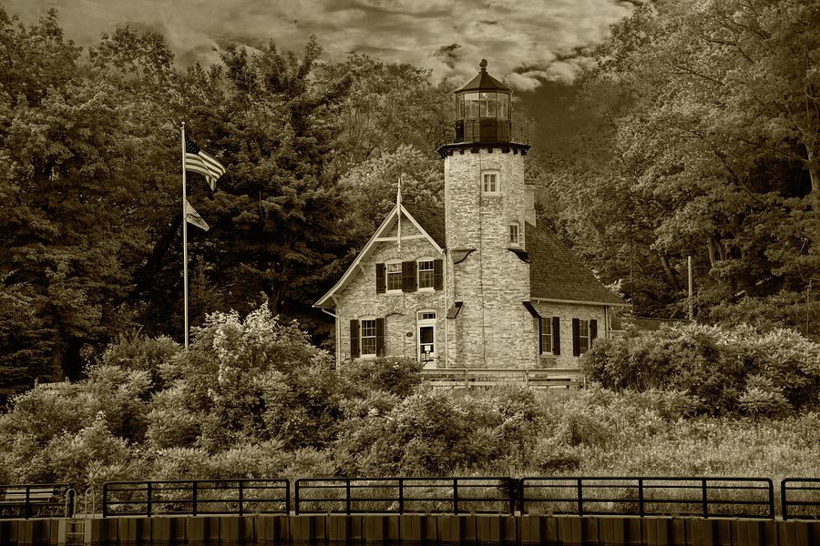 White River Lighthouse in Sepia Tone in Summer by Whitehall Mich by Randall Nyhof