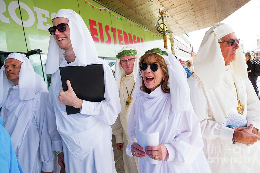 Bard Photograph - White Robed Bards At The Welsh National Eisteddfod by Keith Morris