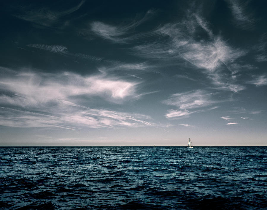 White Sail Boat On Sea Photograph by Rjw