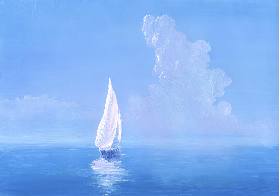 White Sail On Calm Sea Digital Art by Pobytov