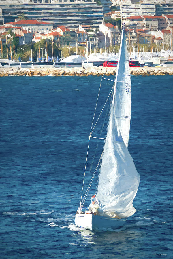 White Sailboat at Cannes by TONY GRIDER
