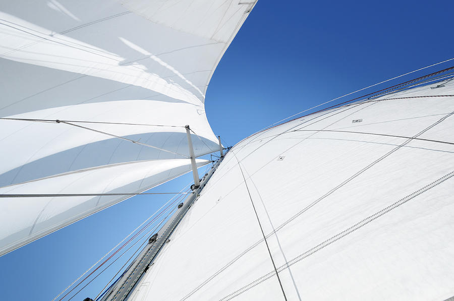 White Sails Against Blue Sky Seen From Photograph by Nikitje