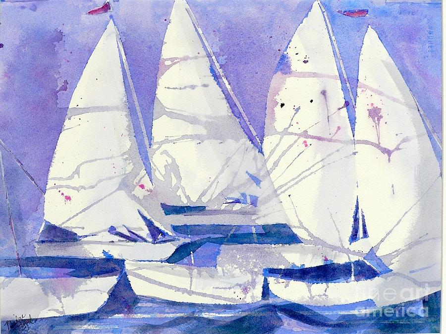 Sailboats Painting - White Sails by Midge Pippel