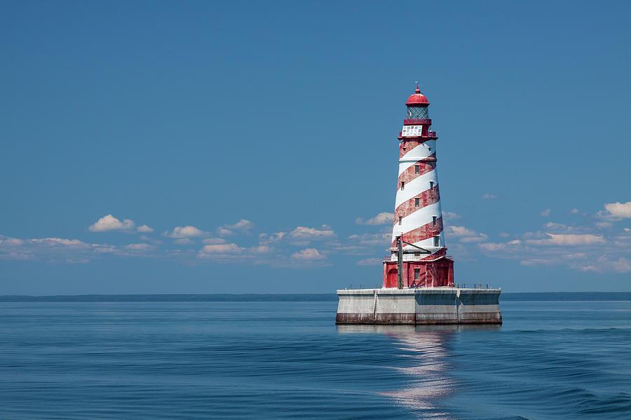 Lighthouse Photograph - White Shoal Lighthouse 20 by John Brueske
