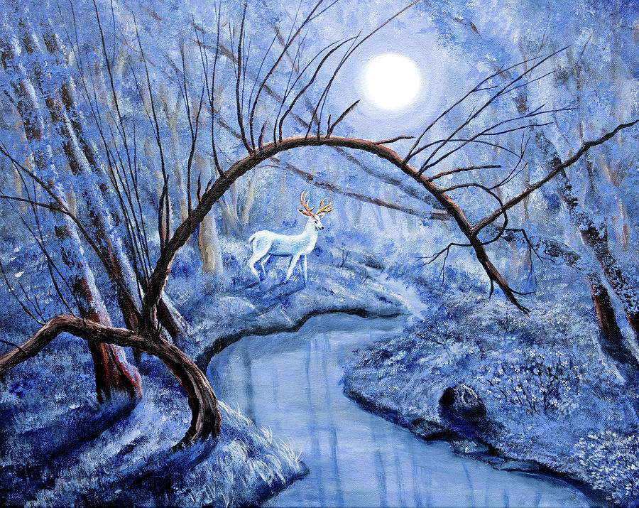 White Stag at Dunawi Creek by Laura Iverson