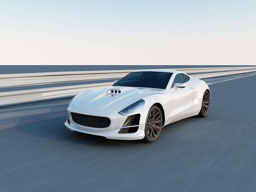 White Super Car On The Racing Track Photograph by Firstsignal