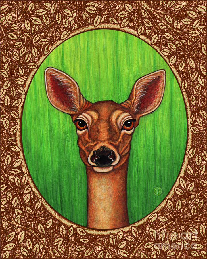 White Tailed Doe Portrait - Brown Border by Amy E Fraser
