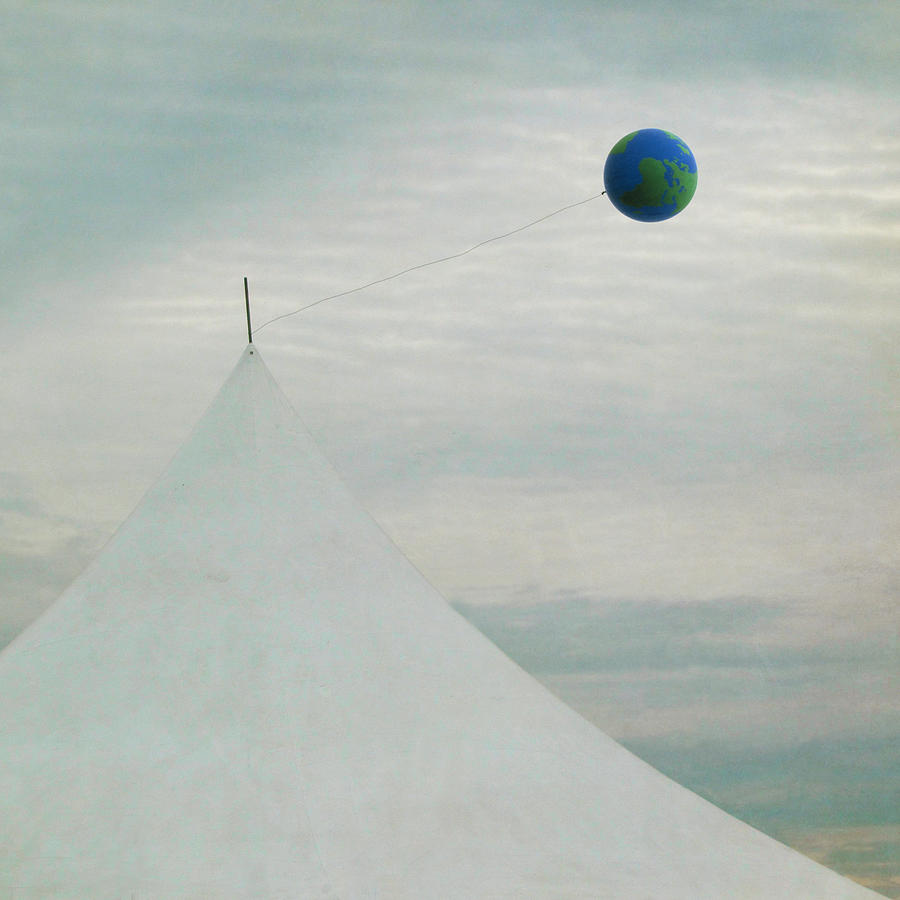 White Tent With Earth Balloon Photograph by Francois Dion