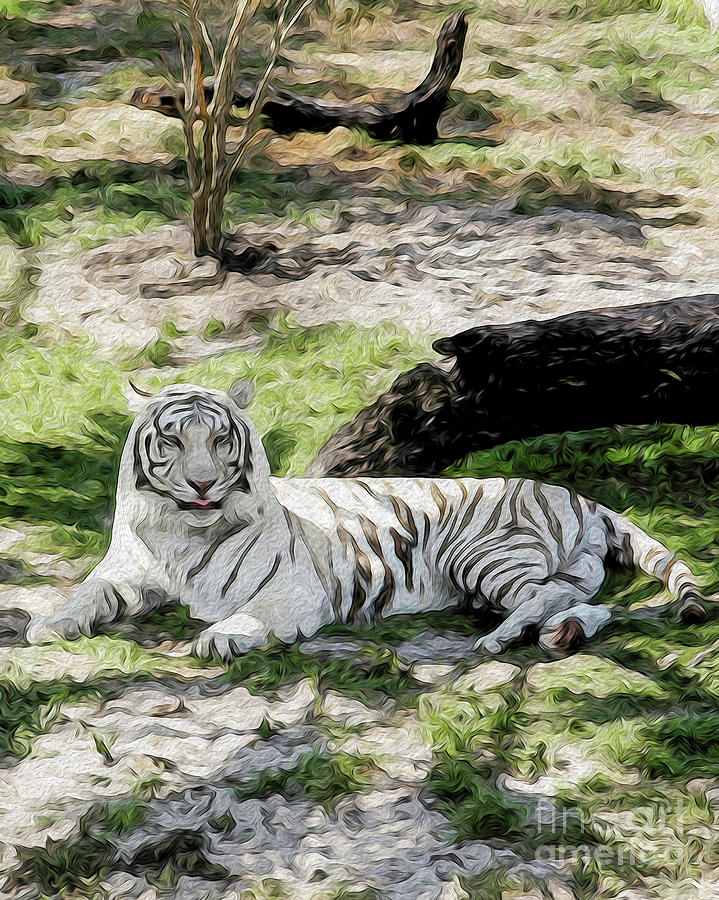 White Tiger at Rest Digital Art by Kenneth Montgomery