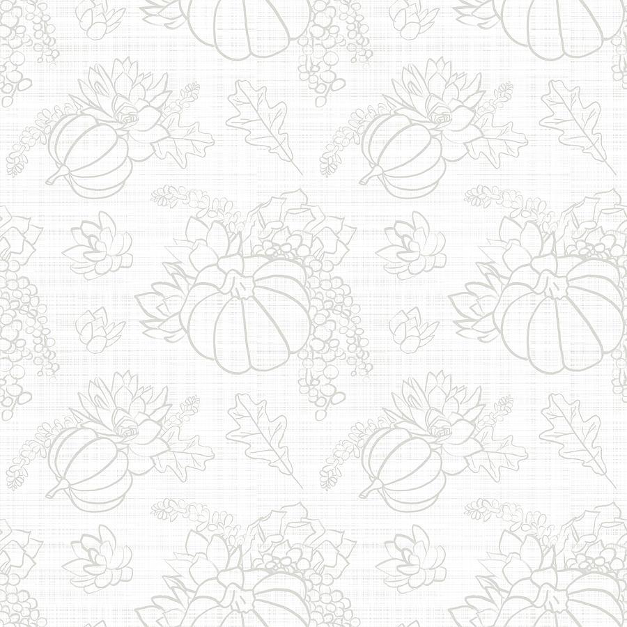 White Tonal Succulent Pumpkin Pattern by Jen Montgomery by Jen Montgomery