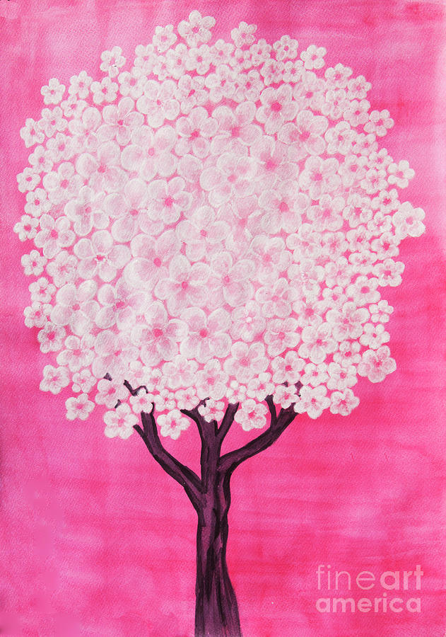 White tree on pink background, watercolor painting by Irina Afonskaya