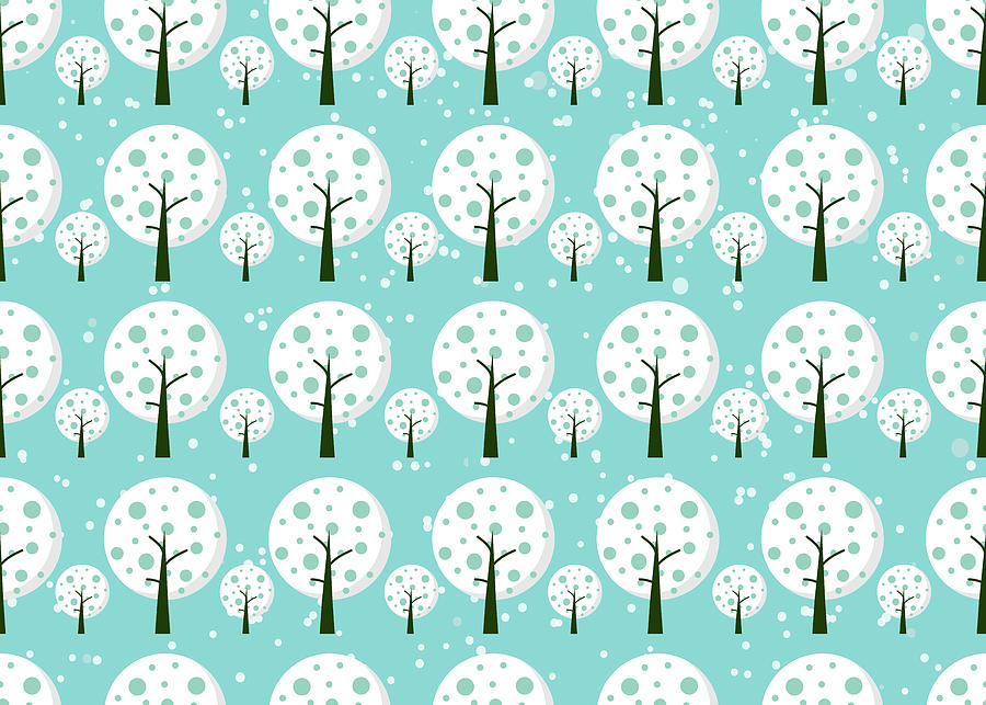Winter Tapestry - Textile - White Trees  Repeating Pattern Design by All Free Download
