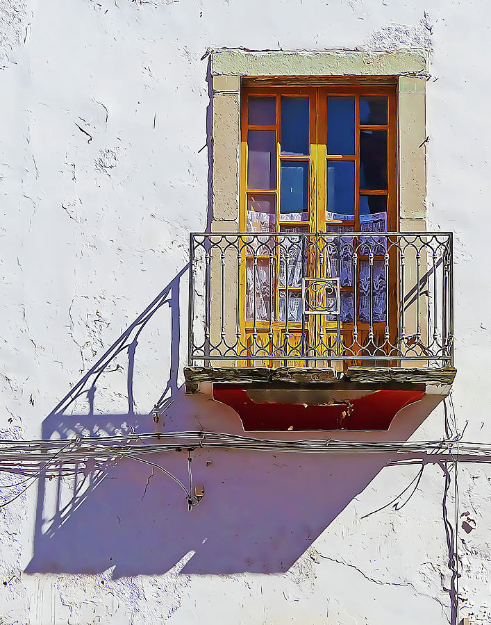 White Wall and Window with Balcony by Douglas J Fisher