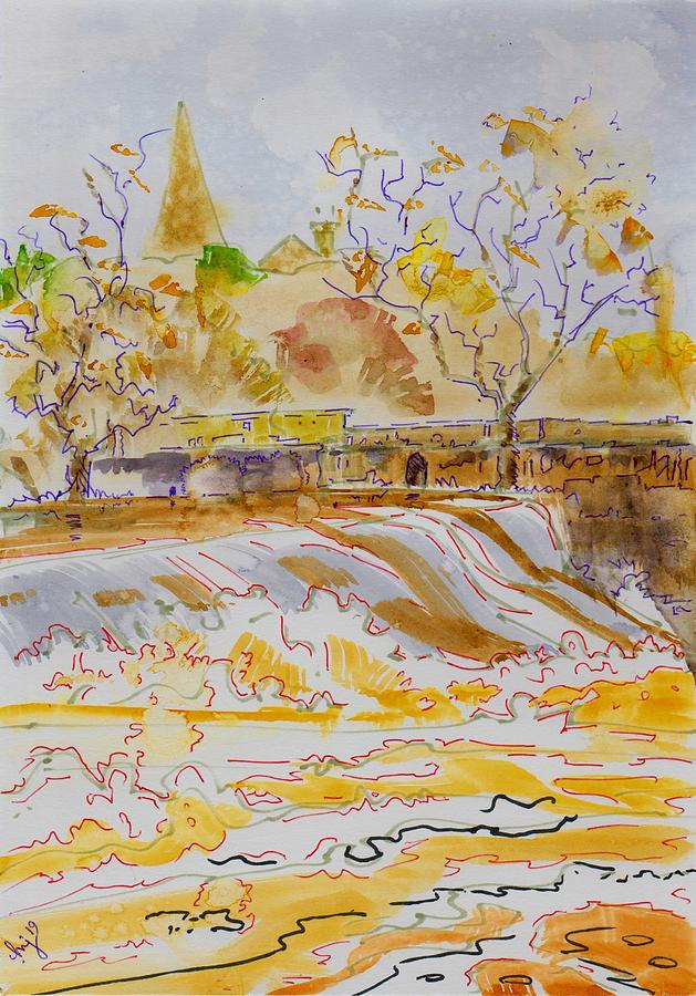 White water at the weir - River Exe in Devon by Mike Jory