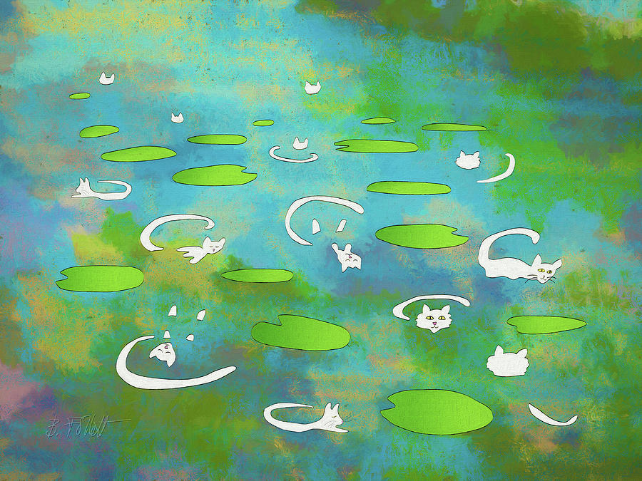 White Water Lily Cats on Pond  by Bonnie Follett