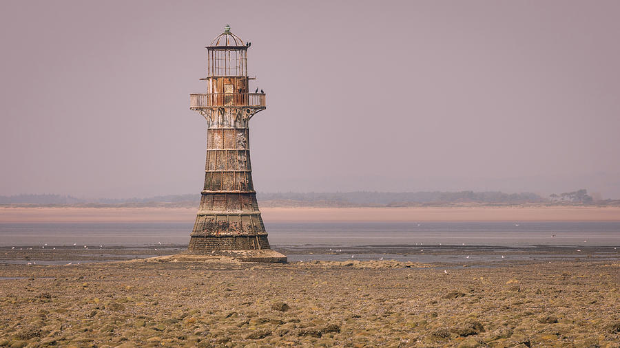 Whiteford Point Lighthouse In Pink Photograph