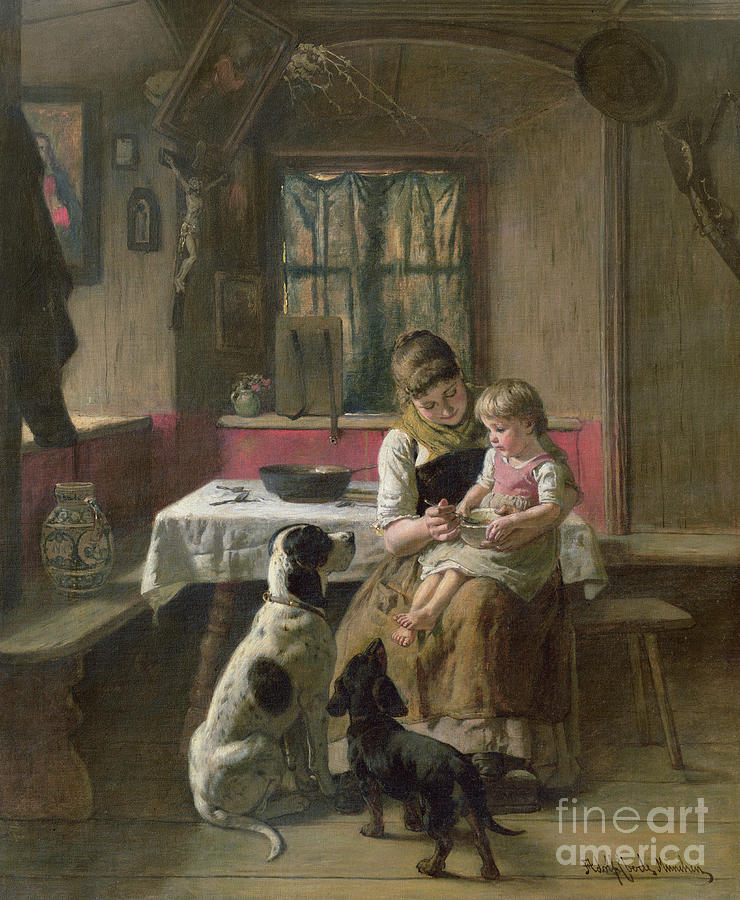Dog Painting - Whose Dinner Is It by Adolf Eberle