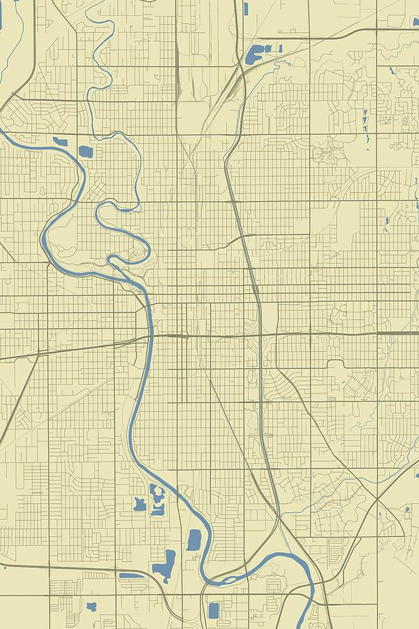 Wichita Kansas Usa Classic Map Digital Art By Jurq Studio