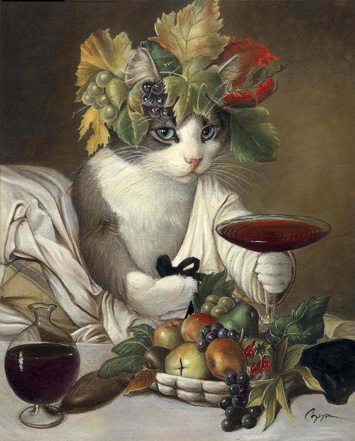 Cat Painting - Widget as Bacchus by Melinda Copper