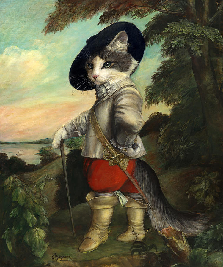 Cat Painting - Widget In Boots by Melinda Copper