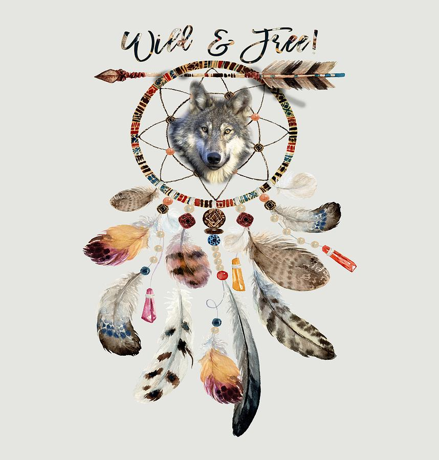 Wild and Free Wolf Spirit Dreamcatcher by Georgeta Blanaru