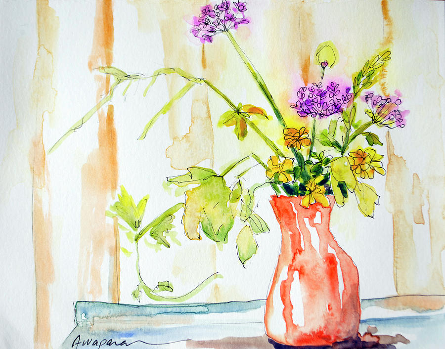 Wild Flowers in an Orange Vase by Patricia Awapara