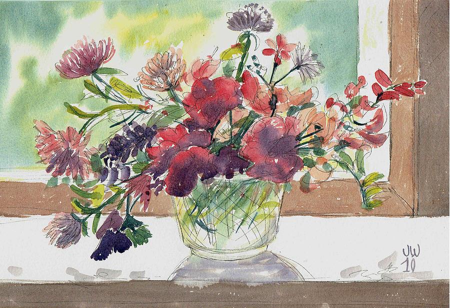 Wild flowers in glass vase by June Walker