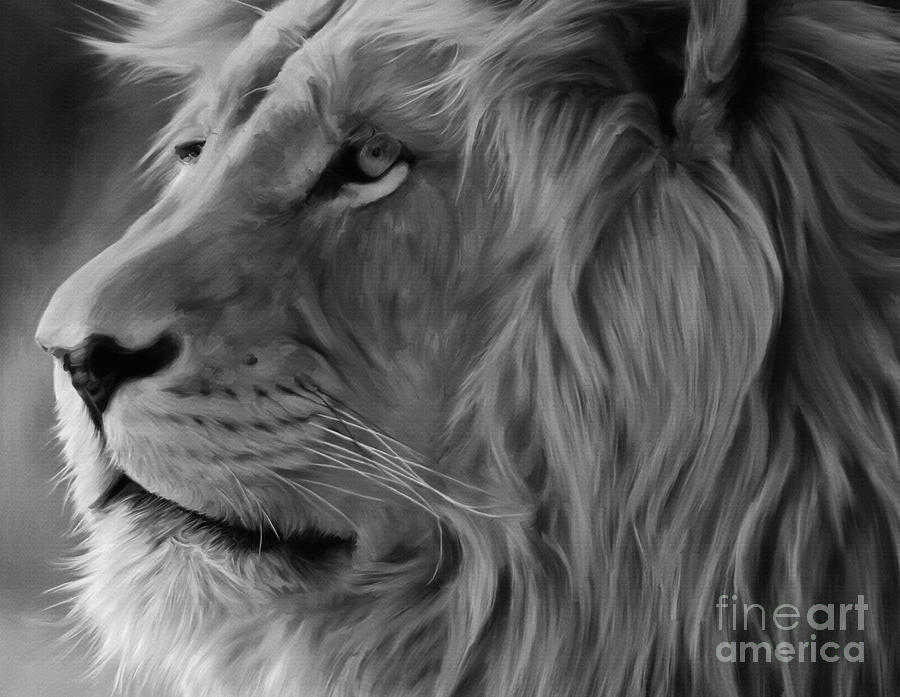 Lion King Painting - Wild Lion Face by Gull G