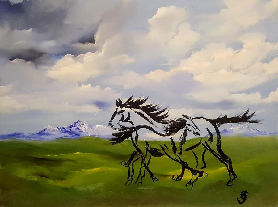Wild Mare and Colt       58 by Cheryl Nancy Ann Gordon