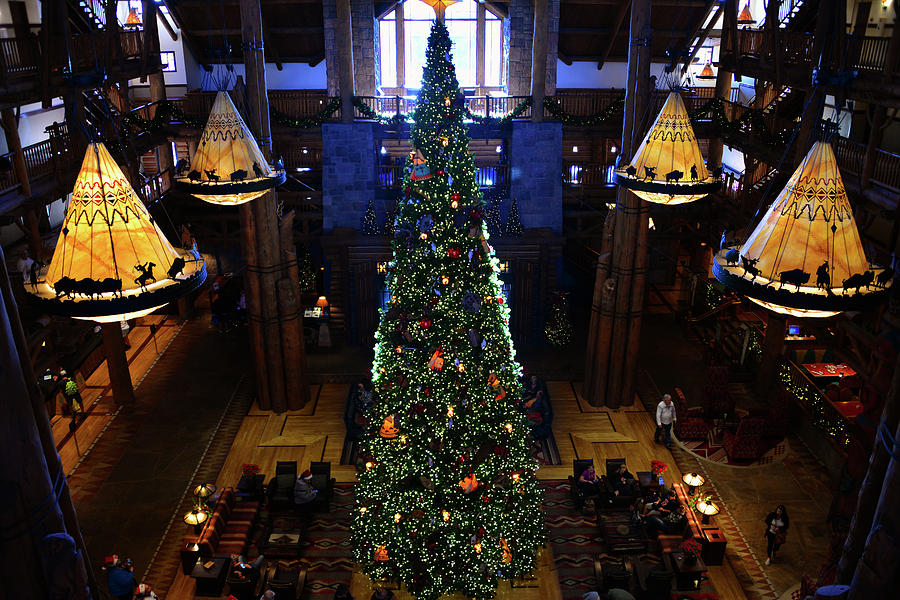 Christmas Photograph - Wilderness Lodge Christmas Tree by David Lee Thompson