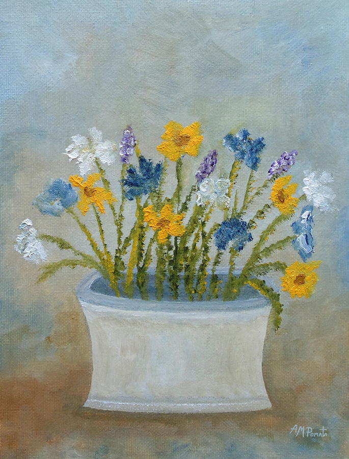 Wildflowers In A Vase by Angeles M Pomata