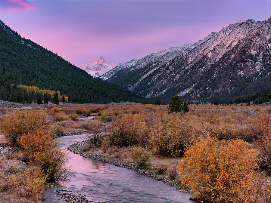 Altitude Photograph - Wildhorse Creek Autumn Sunrise by Leland D Howard