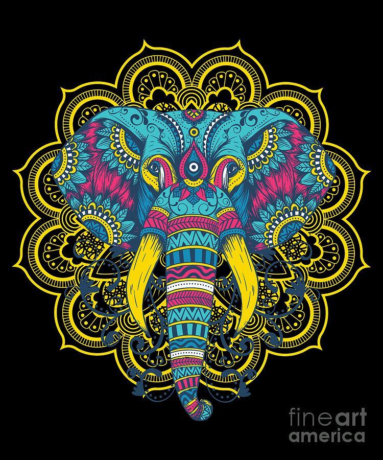 Wildlife Mammal Mammoth Colorful Elephant Mandala Animals Gift