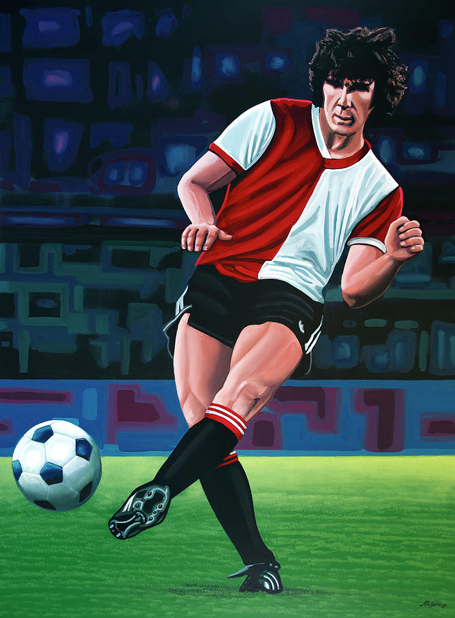 Soccer Player Painting - Willem Van Hanegem Painting by Paul Meijering