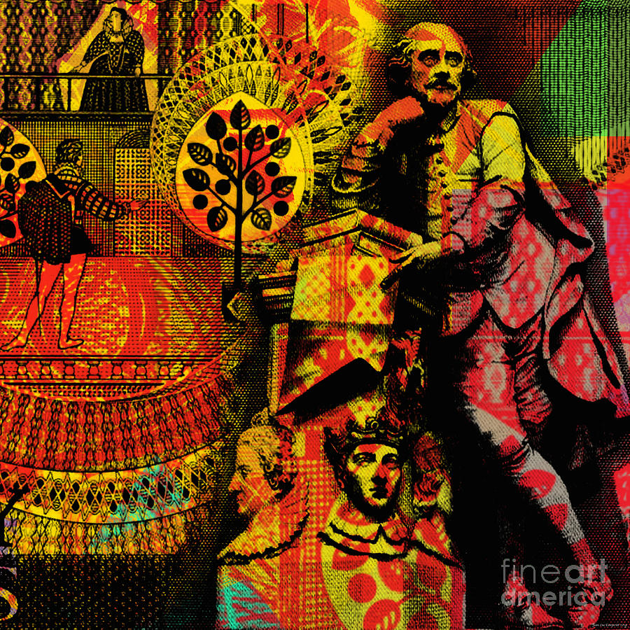 William Shakespeare Pop Art Collage by Jean luc Comperat