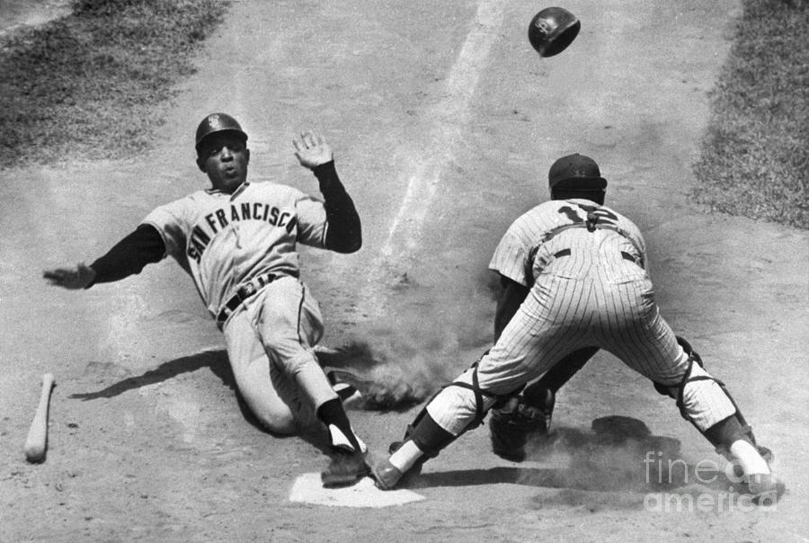 Willie Mays Sliding Into Home Plate Photograph by Bettmann