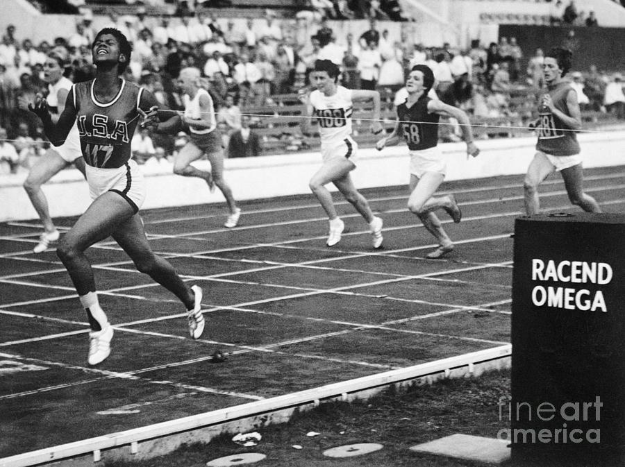 Wilma Rudolph Sprinting Across Finish Photograph by Bettmann