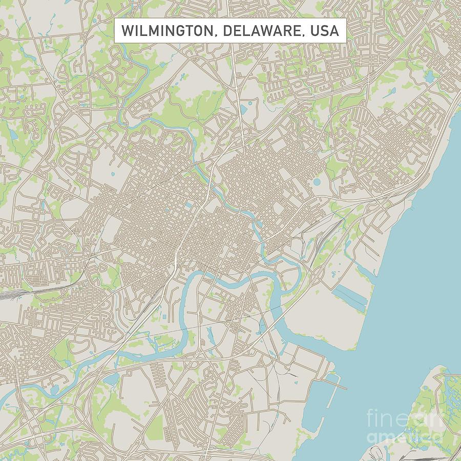Wilmington Delaware Us City Street Map Digital Art by Frank Ramspott