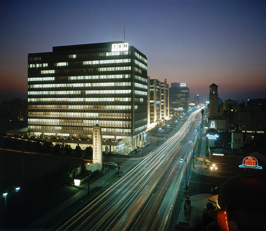 Wilshire Bvld At Night Photograph by Ralph Crane
