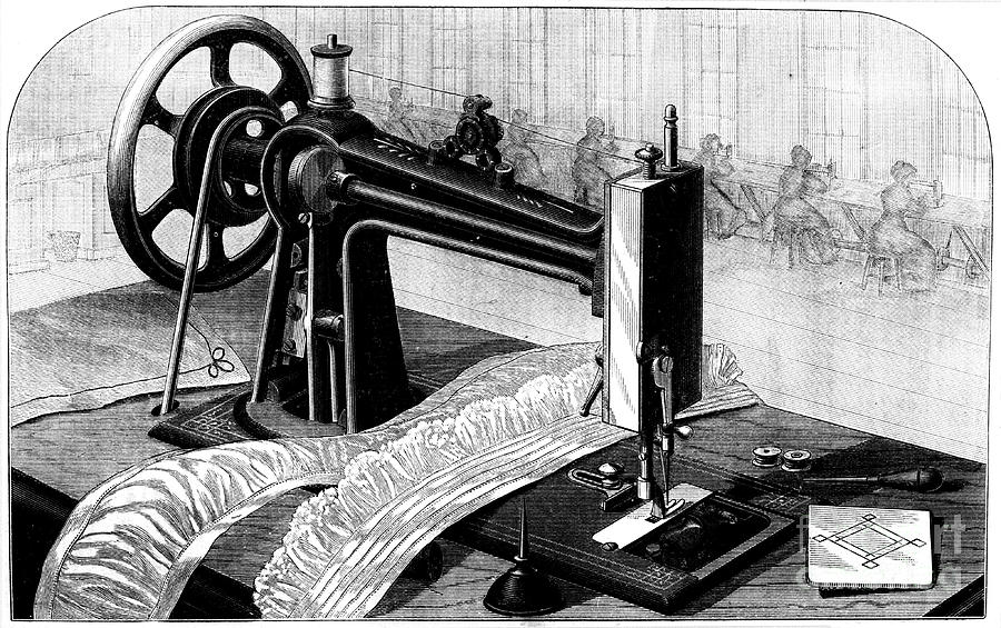 Wilson Sewing Machine, 1880. Artist Anon Drawing by Print Collector